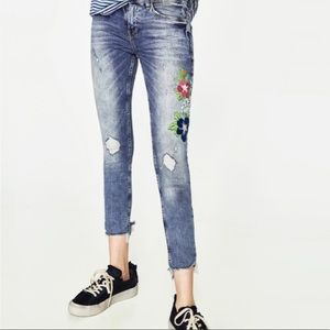 Zara jeans with colorful flower embroidery